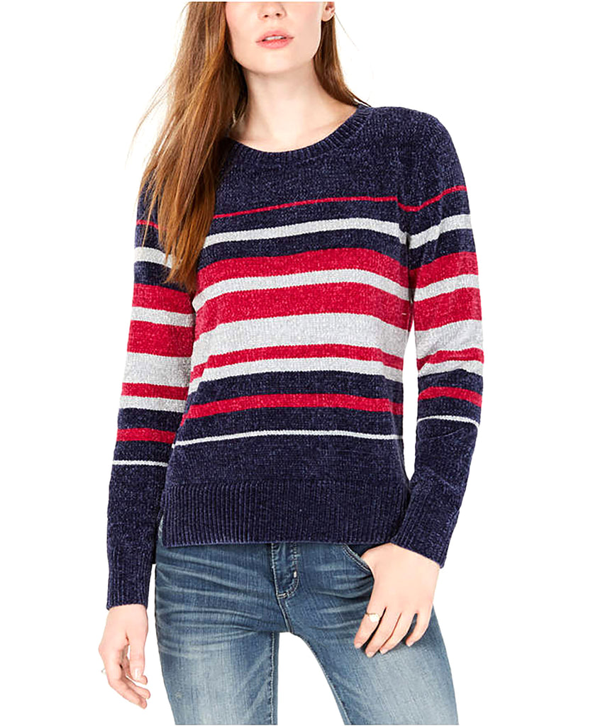 Yieldings Discount Clothing Store's Striped Chenille Sweater by Maison Jules in Blu Notte Combo