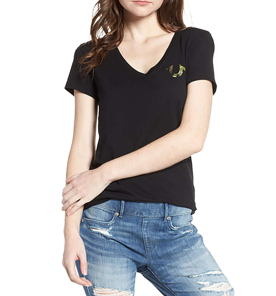 Yieldings Discount Clothing Store's Camouflage-Logo T-Shirt by True Religion in Black
