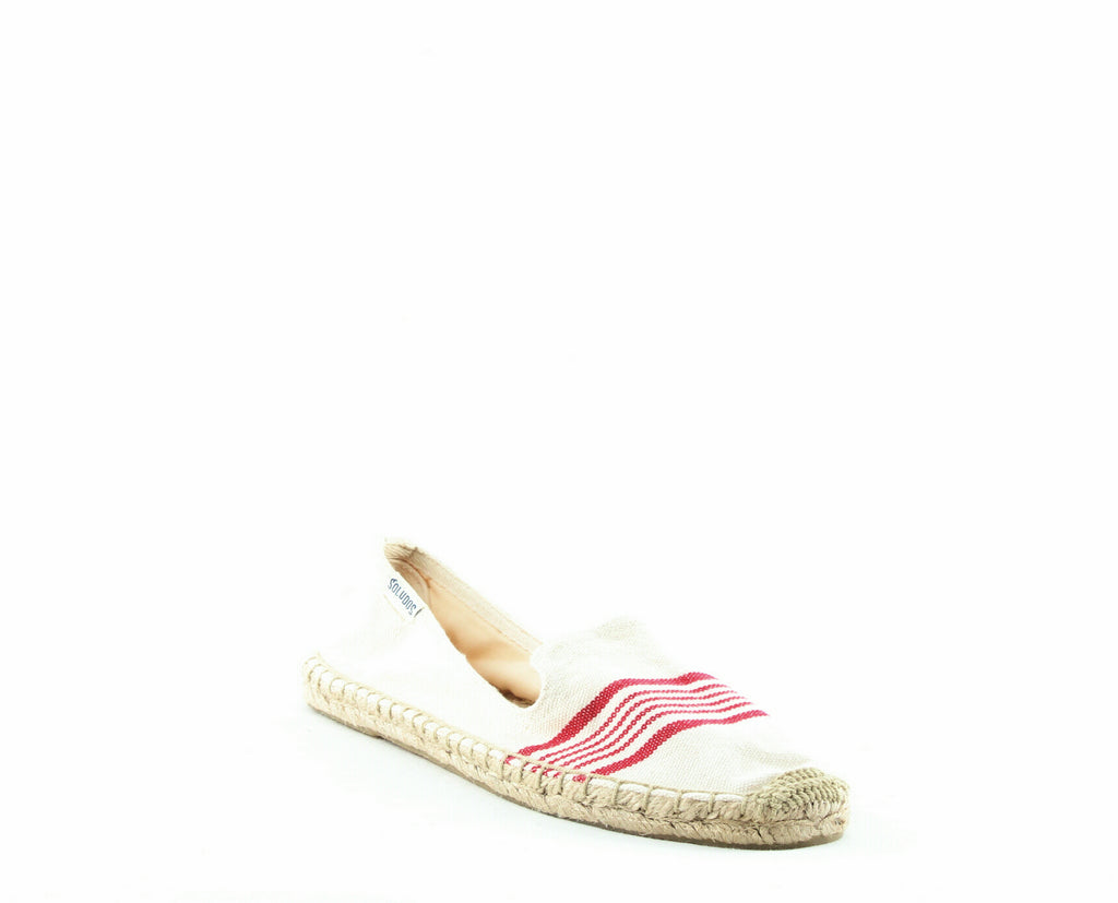 Yieldings Discount Shoes Store's Smoking Slippers by Soludos in Natural/Red
