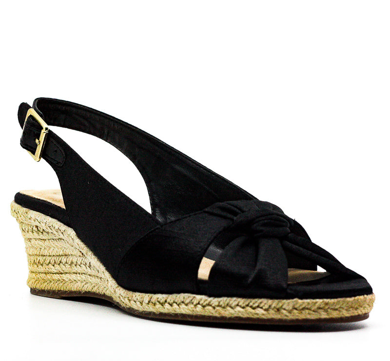 Yieldings Discount Shoes Store's Seraphina II Slingback Wedge Sandals by Bella Vita in Black