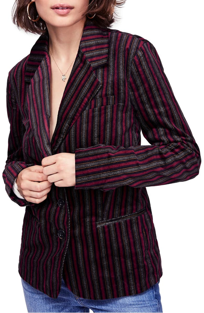 Yieldings Discount Clothing Store's Striped B-Line Blazer by Free People in Red Combo