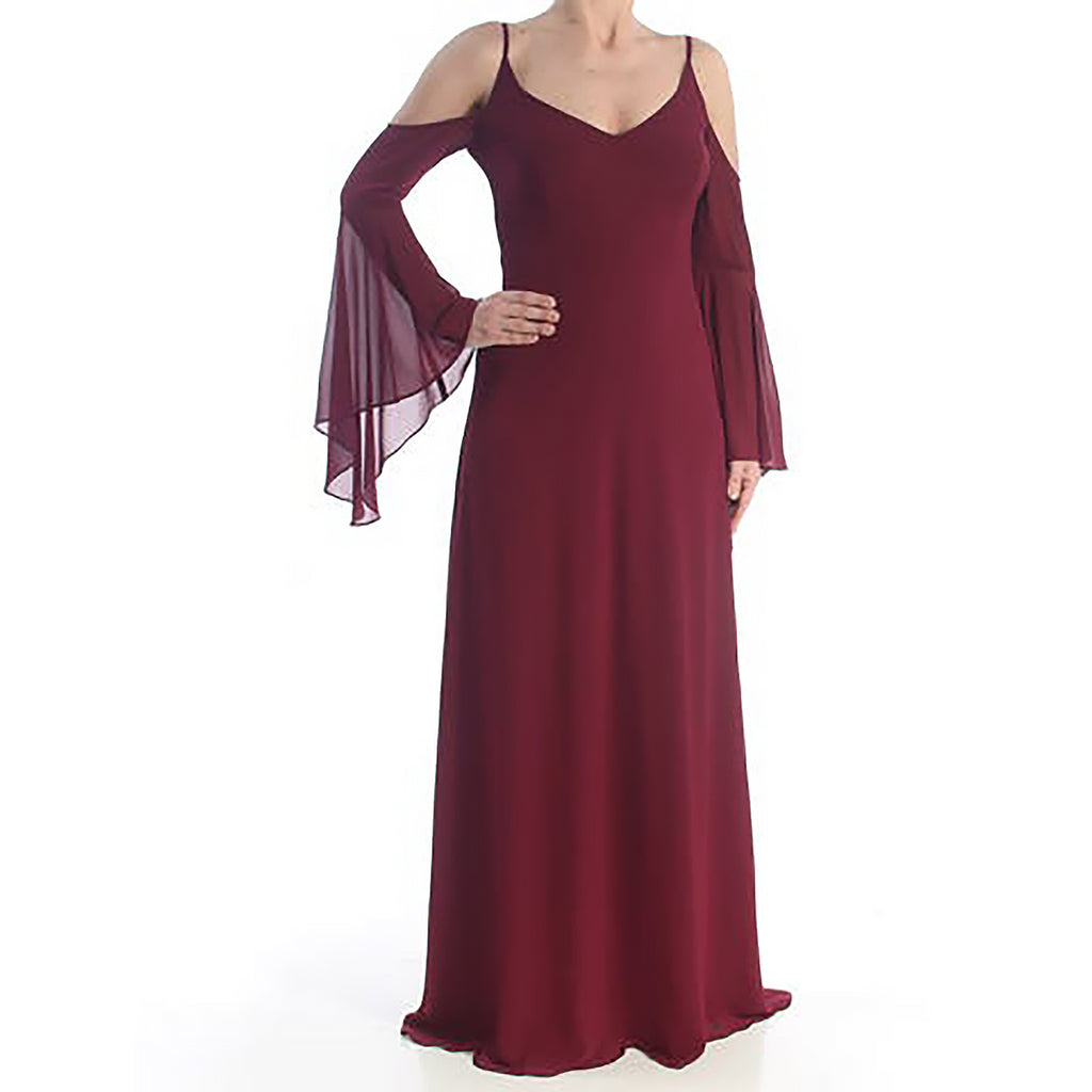 Yieldings Discount Clothing Store's Cold Shoulder Full-Length Evening Dress by Betsy & Adam in Burgundy