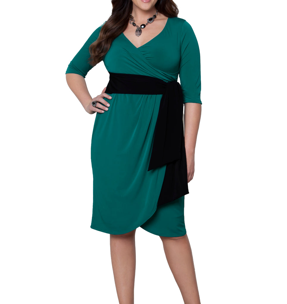 Yieldings Discount Clothing Store's Harlow Faux Wrap Dress by Kiyonna in Jade