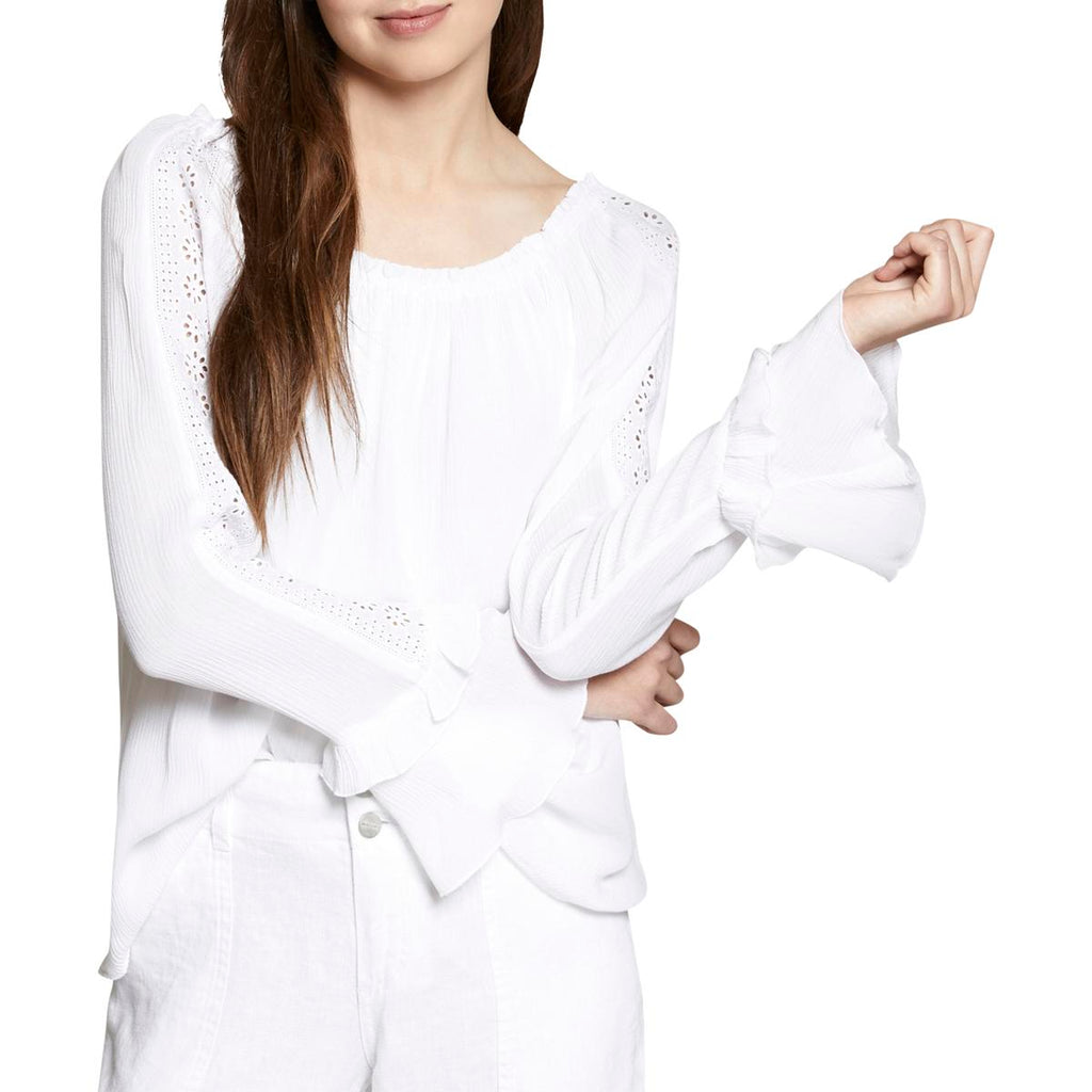 Yieldings Discount Clothing Store's Artisan Cotton Eyelet-Sleeve Top by Sanctuary in White
