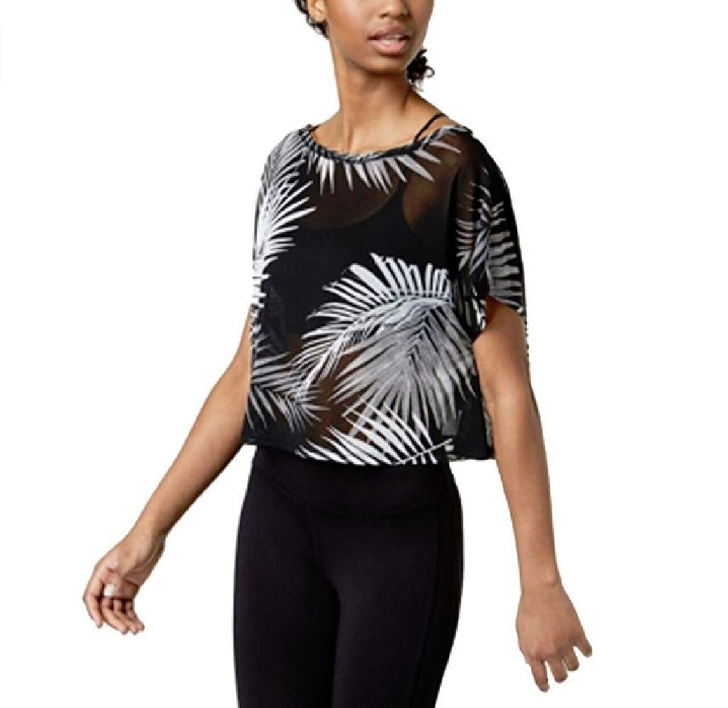 Yieldings Discount Clothing Store's Juniors' Printed Active Top by Material Girl in Palm Black Combo