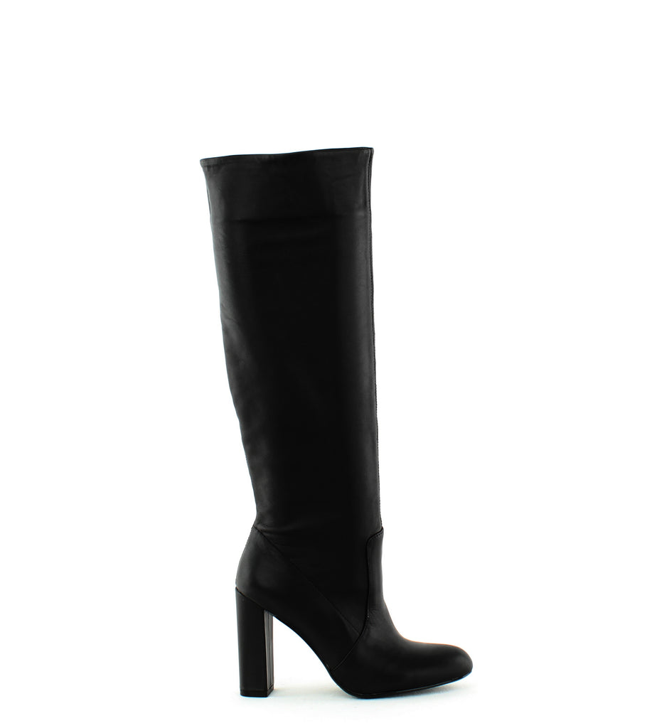 Yieldings Discount Shoes Store's Eton Calf High Boots by Steve Madden in Black Leather