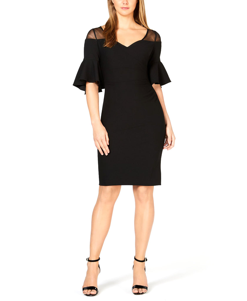 Yieldings Discount Clothing Store's Illusion Yoke Cocktail Dress by Calvin Klein in Black