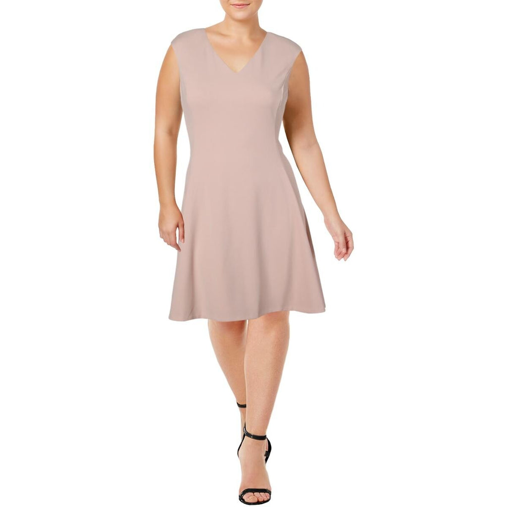 Yieldings Discount Clothing Store's V-Neck High Low Dress by DKNY in Blush