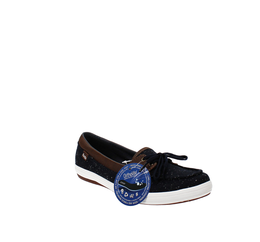 Yieldings Discount Shoes Store's Glimmer Speckle Slip-On Sneakers by Keds in Navy