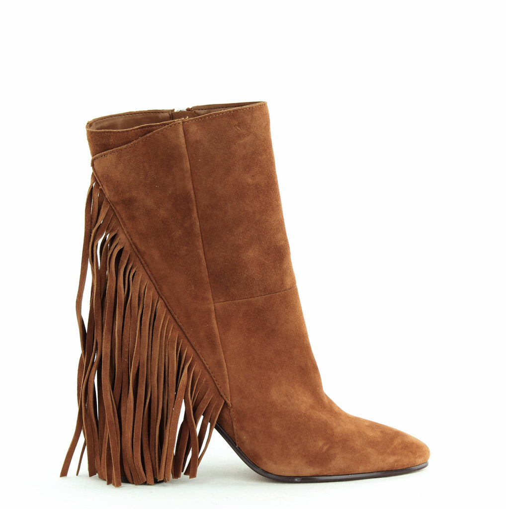 Yieldings Discount Shoes Store's Rhoda Block Heel Boots by Dolce Vita in Brown Suede