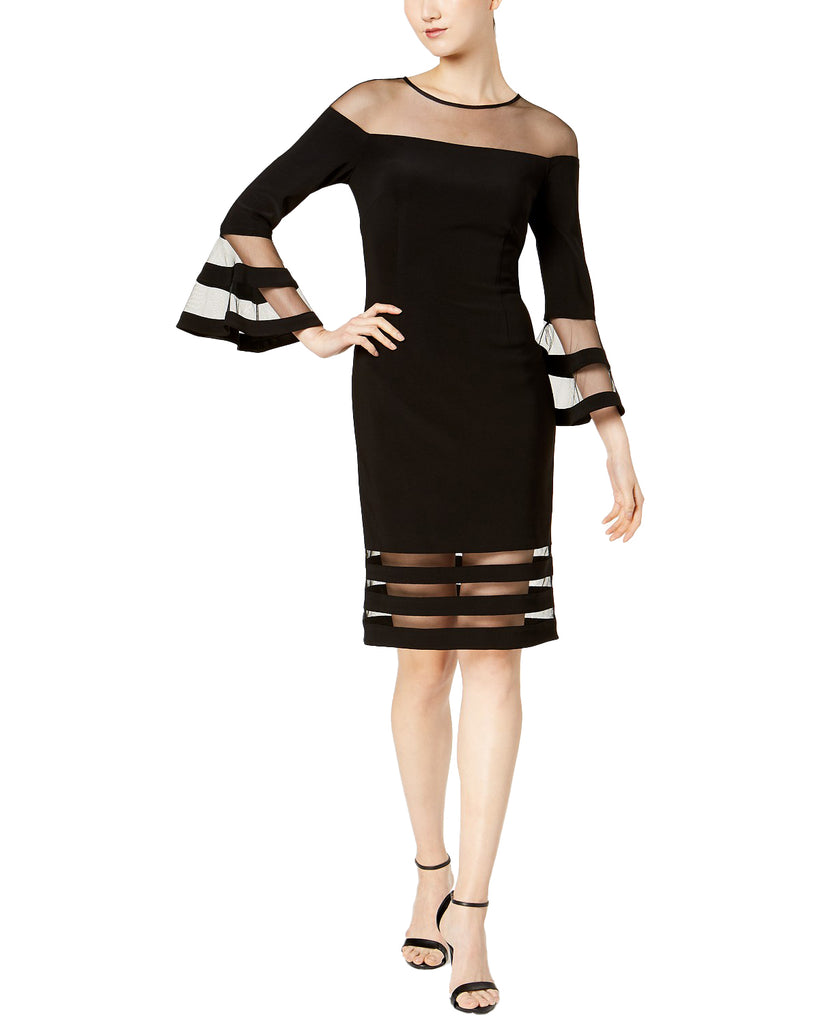 Yieldings Discount Clothing Store's Illusion-Stripe Sheath Dress by Betsy & Adam in Black