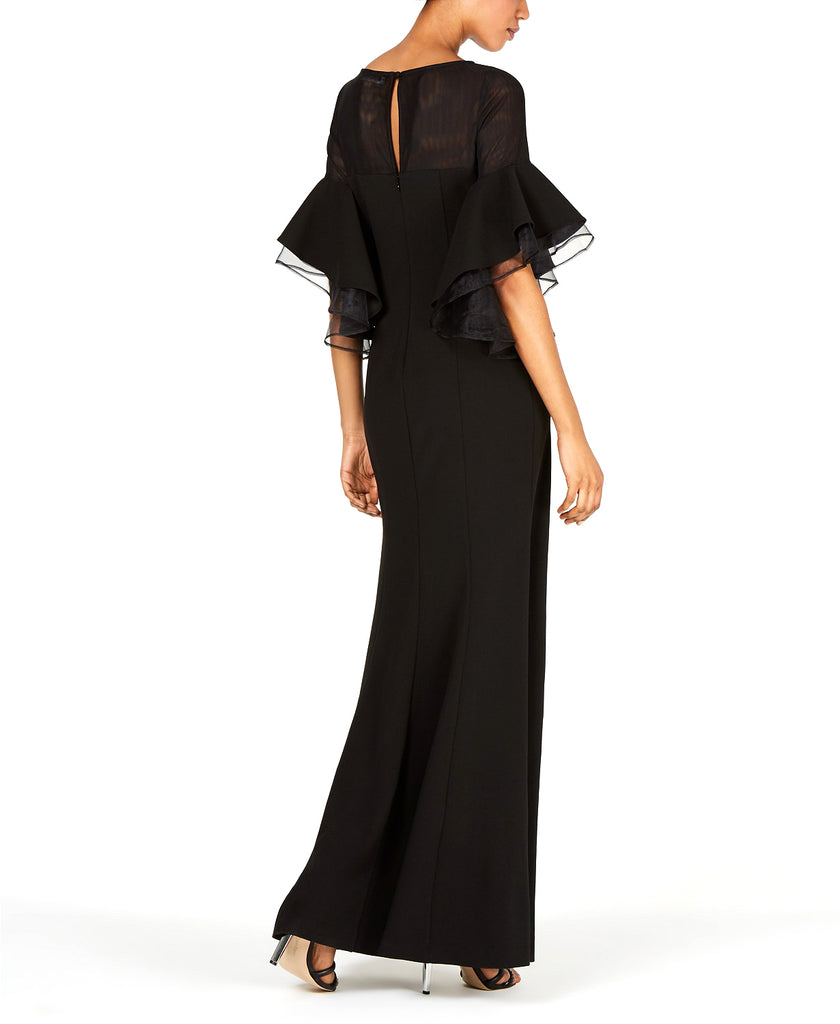 Yieldings Discount Clothing Store's Tiered Bell-Sleeve Illusion Gown by Calvin Klein in Black