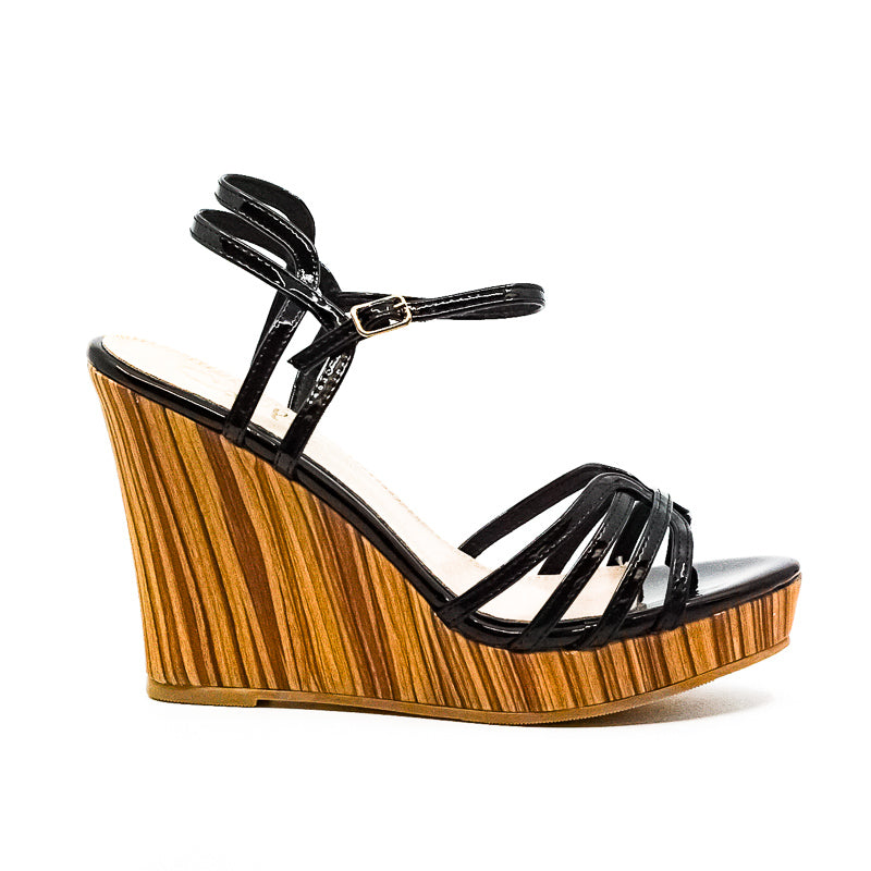Yieldings Discount Shoes Store's Patent Wedge Sandals by Callisto Of California in Black