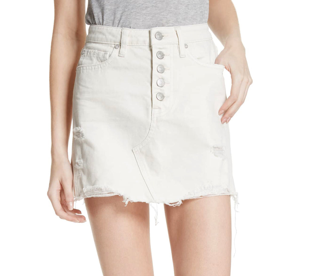Free People | Cotton Ripped Denim Skirt