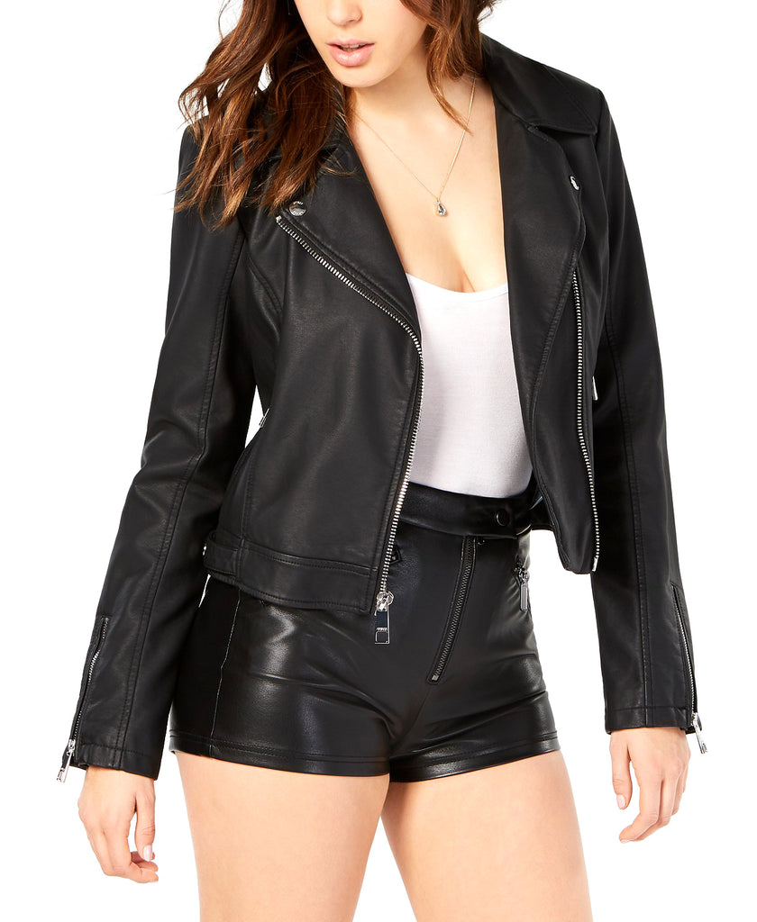 Yieldings Discount Clothing Store's Regina Faux-Leather Moto Jacket by Guess in Jet Black