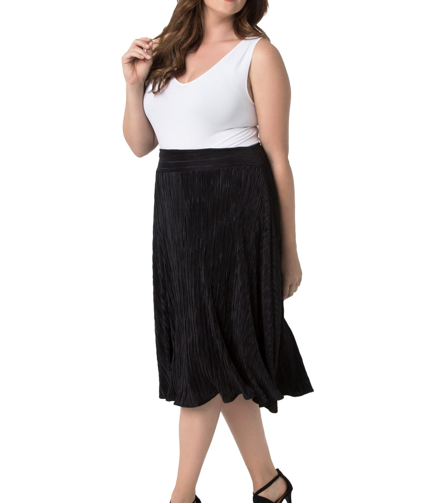 Yieldings Discount Clothing Store's A Crinkle in Time Skirt by Kiyonna in Black