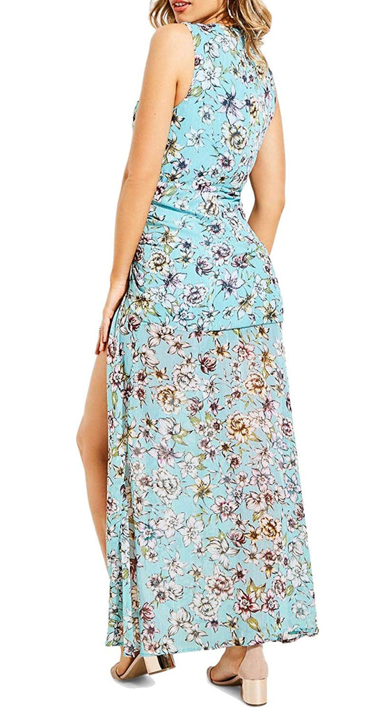 Yieldings Discount Clothing Store's Nadira Sheer Floral Ruched Maxi Dress by Guess in Blue Wave