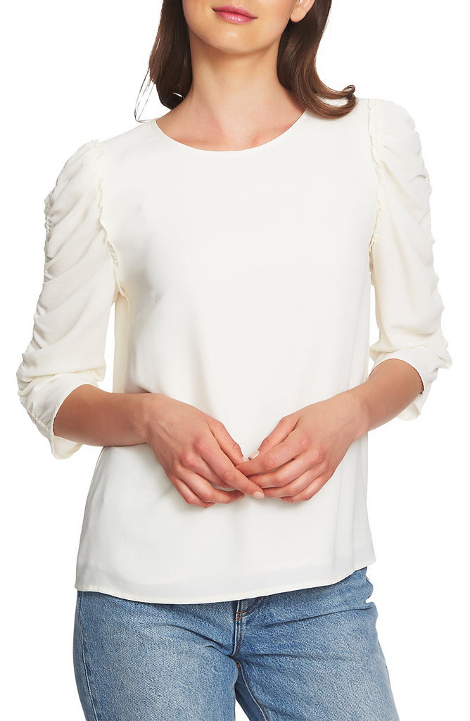 Yieldings Discount Clothing Store's Ruffled Puffed Top by 1.State in Soft Ecru