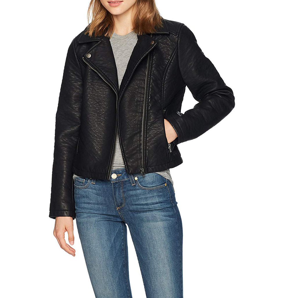 Yieldings Discount Clothing Store's Willis Heavy Rippled Pu Moto Jacket by Jack in Black