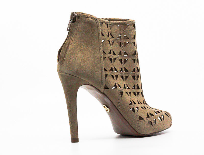 Yieldings Discount Shoes Store's Ivy Suede Heel Booties by Michael Kors in Dark Khaki