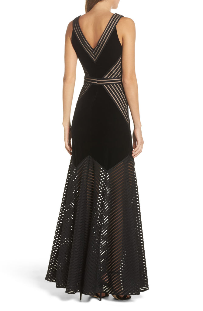 Yieldings Discount Clothing Store's Illusion Crepe Gown by Xscape in Black