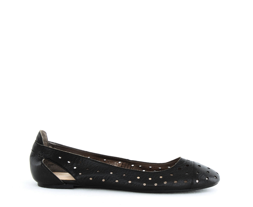Yieldings Discount Shoes Store's Marie Cutout Ballet Flats by Nine West in Black/Pewter