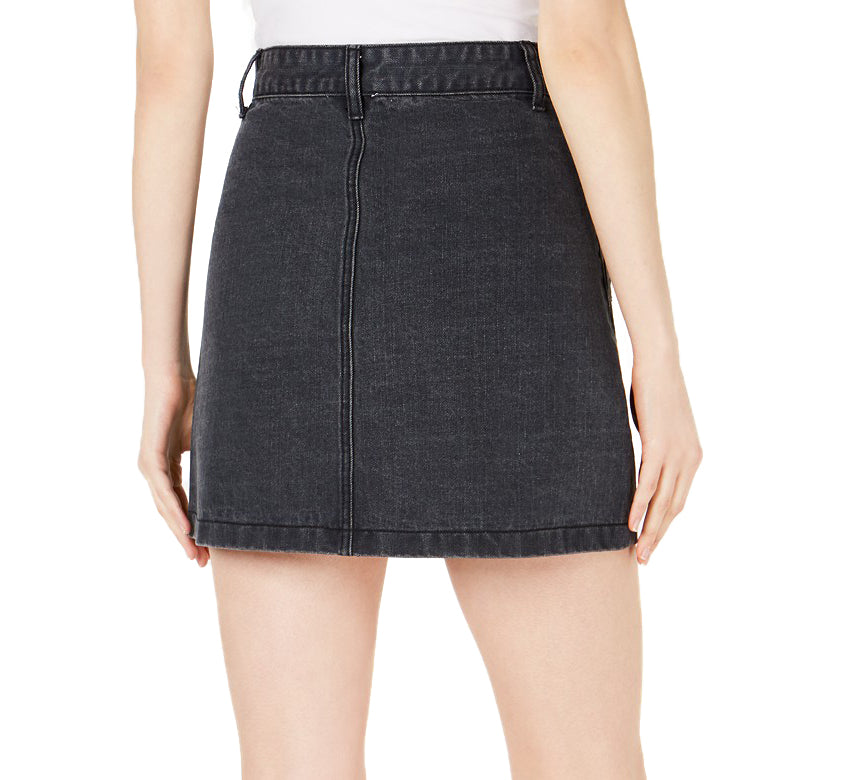 Yieldings Discount Clothing Store's Bisous Cotton Denim Mini Skirt by Sage the Label in Black