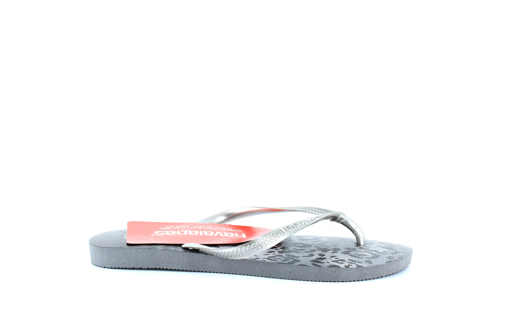 Yieldings Discount Shoes Store's Slim Animal Flip Flops by Havaianas in Grey/Silver