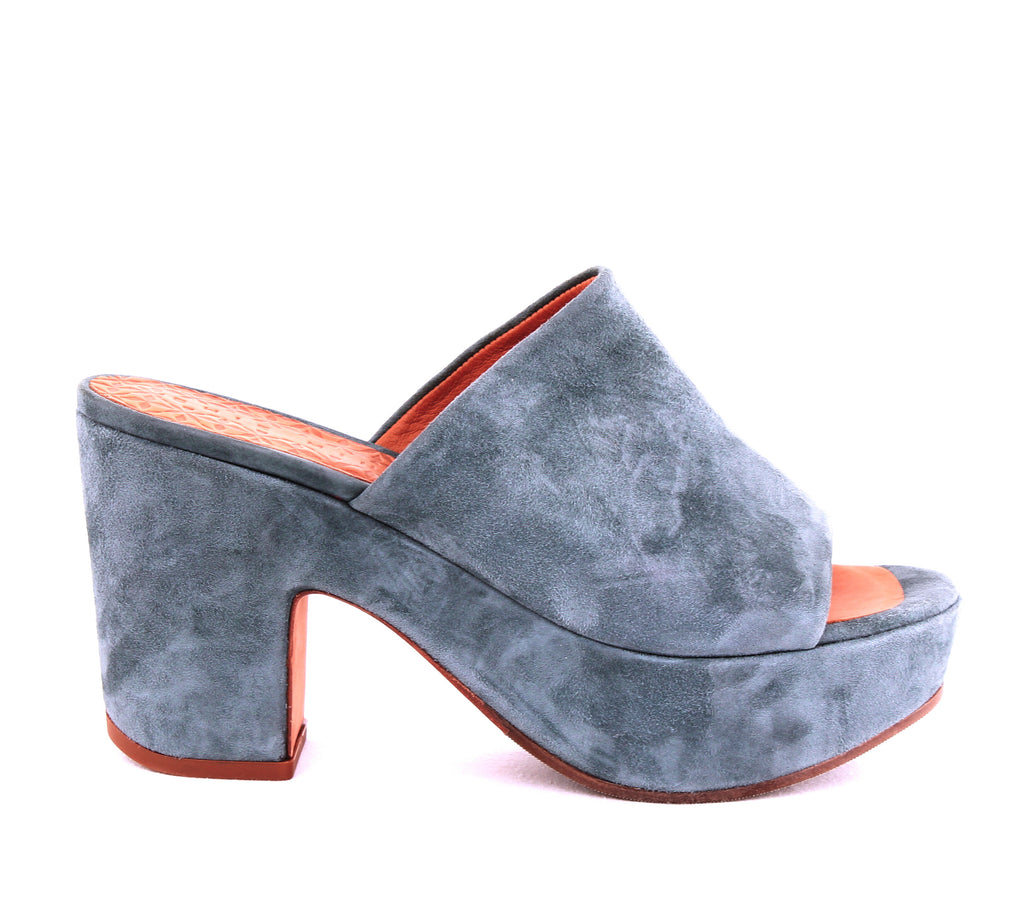 Yieldings Discount Shoes Store's Fumie Suede High Heel Platform Slide Sandals by Chie Mihara in Ante Cloud