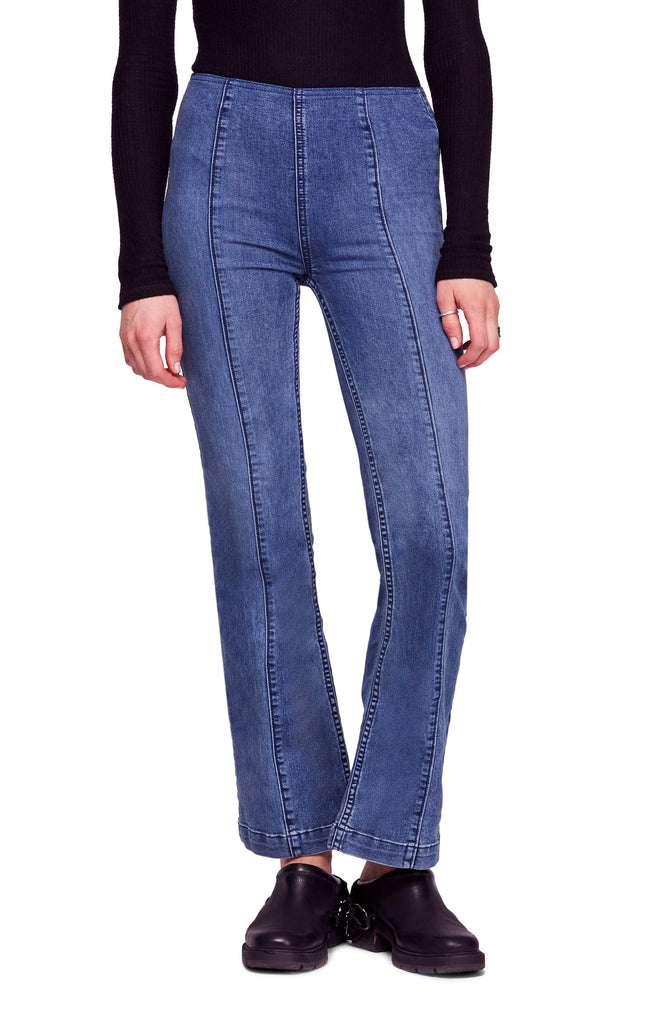 Yieldings Discount Clothing Store's Slim Pull-On Flare Jeans by We The Free By Free People in Blue Stone