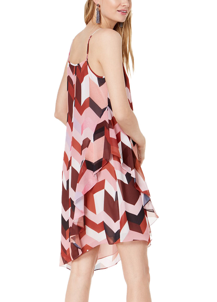 Yieldings Discount Clothing Store's Geometric Layered Slip Spaghetti Strap V-Neck Mini Dress by Bar III in Italia Patchwork