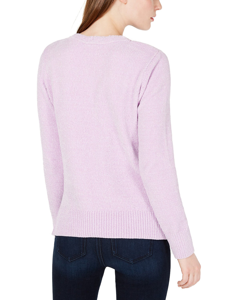 Yieldings Discount Clothing Store's V-Neck Chenille Sweater by Maison Jules in Lilac Moon