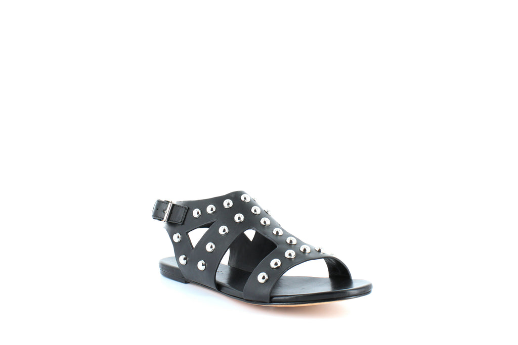 Yieldings Discount Shoes Store's Geri Studded Flat Sandals by Isa Tapia in Black