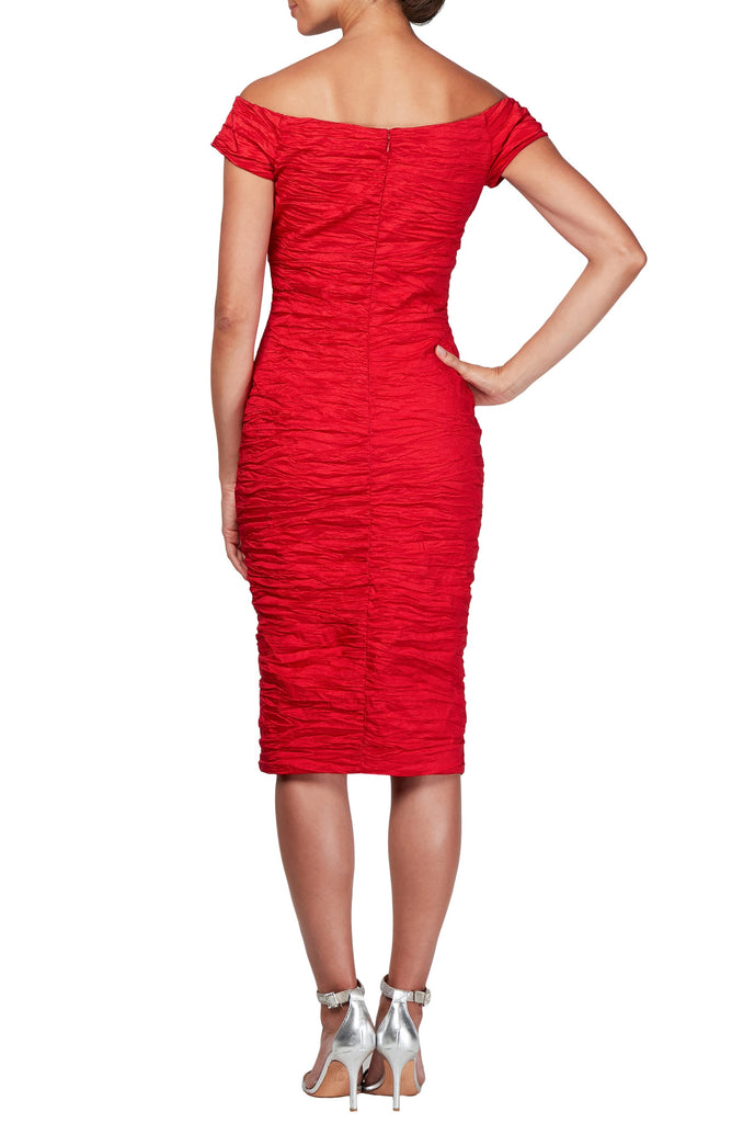 Yieldings Discount Clothing Store's Stretch Taffeta Midi Cocktail Dress by Alex Evenings in Red