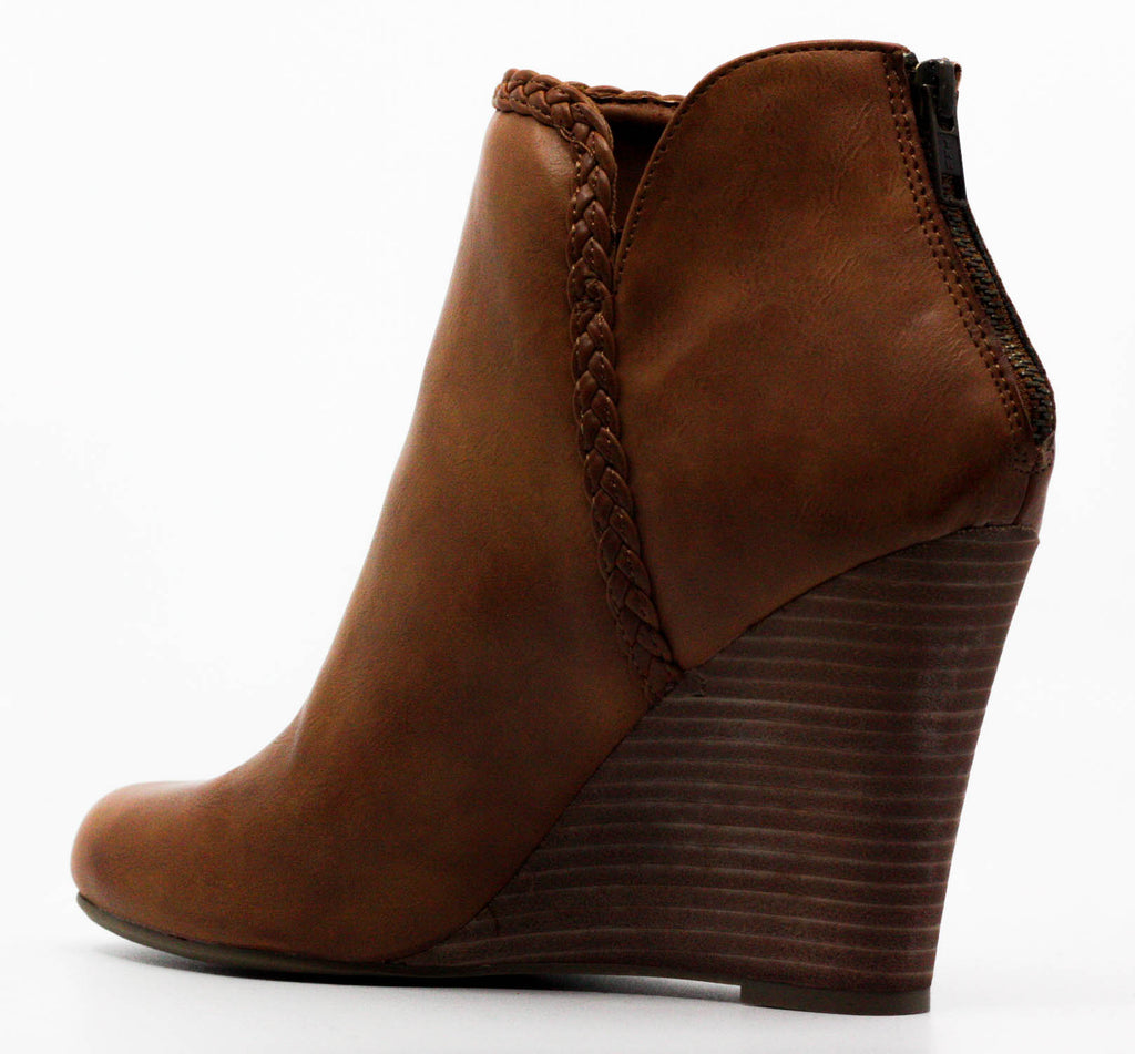 Yieldings Discount Shoes Store's Rosemary Cognac Wedge Booties by Report in Brown