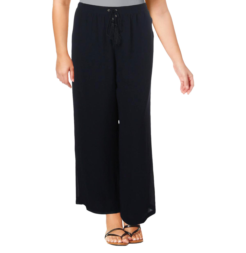 Yieldings Discount Clothing Store's Chiffon Lined Wide Leg Pants by NY Collection in Evening Blue