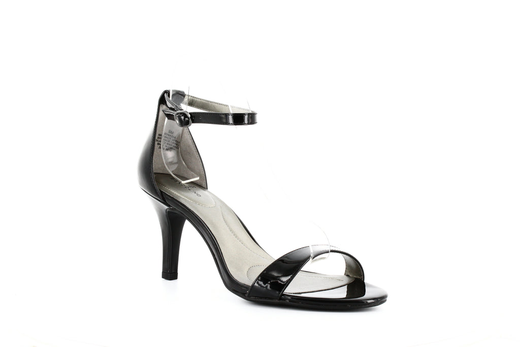 Yieldings Discount Shoes Store's Madia Ankle Strap Sandals by Bandolino in Black Patent