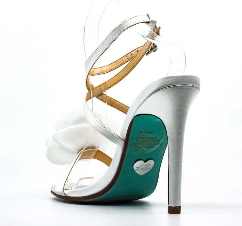 Yieldings Discount Shoes Store's SB Terra Heel Sandals by Blue By Betsey Johnson in Ivory Satin