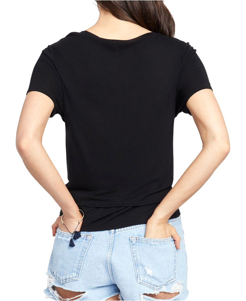 Yieldings Discount Clothing Store's Cropped Tie-Front T-Shirt by RACHEL Rachel Roy in Black