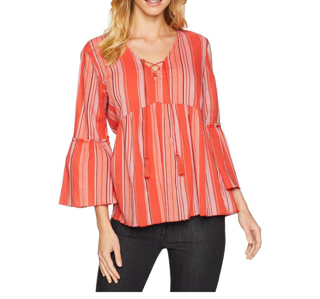 Yieldings Discount Clothing Store's Sedona Lace-up Top by Sanctuary in Sarape Stripe