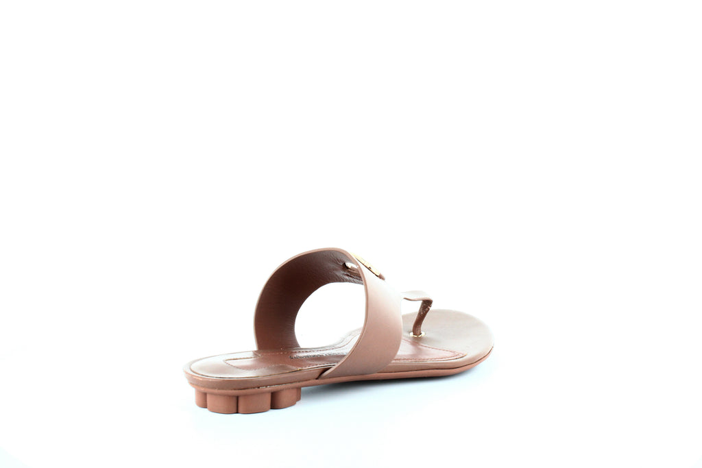 Yieldings Discount Shoes Store's Enfola Flat Calfskin Thong Sandal by Salvatore Ferragamo in Sella