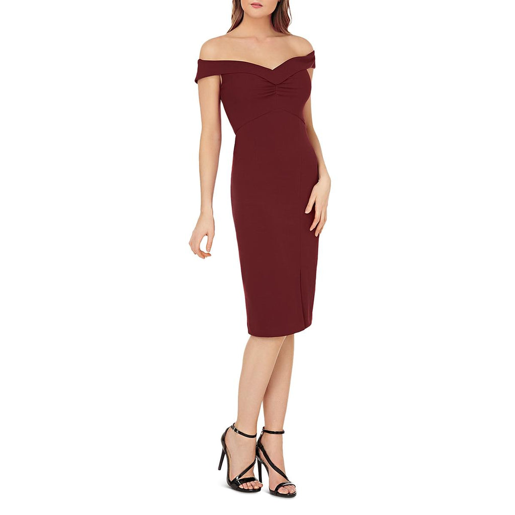 Yieldings Discount Clothing Store's Off-the-Shoulder Dress by JS Collections in Wine