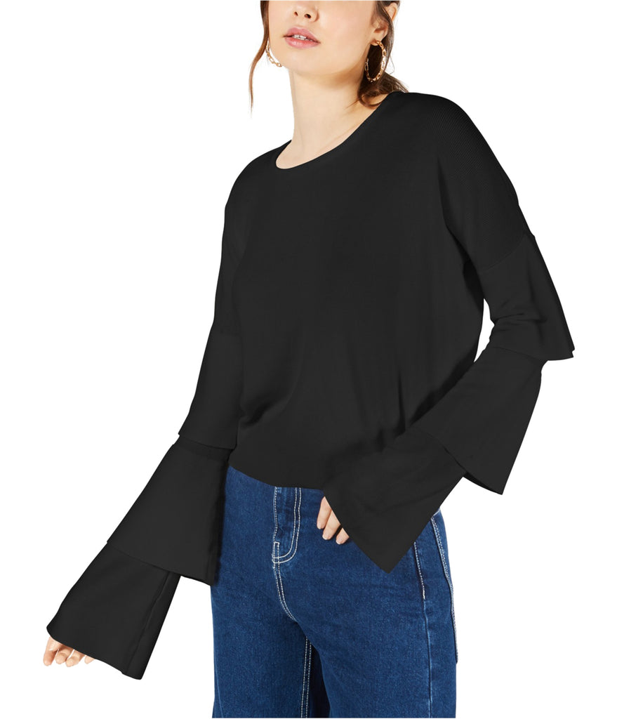 Yieldings Discount Clothing Store's Cropped Tiered-Sleeve Sweater by Sage the Label in Black