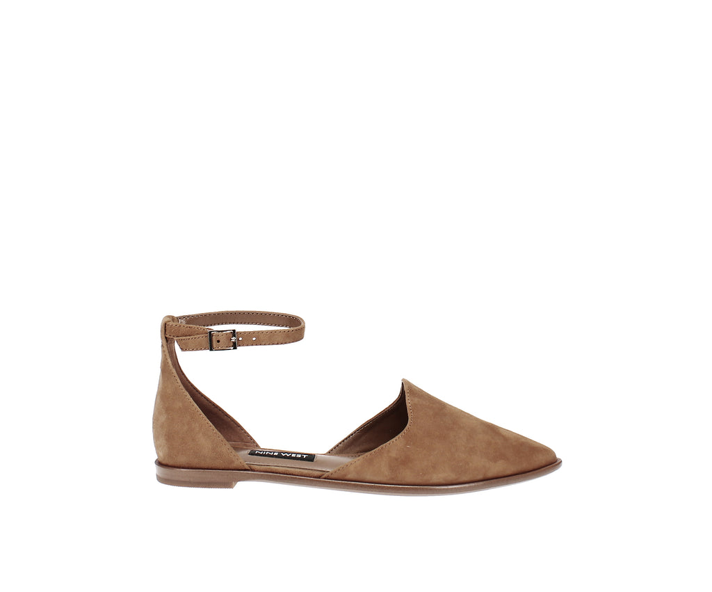 Yieldings Discount Shoes Store's Oriona Flats by Nine West in Dark Natural Suede