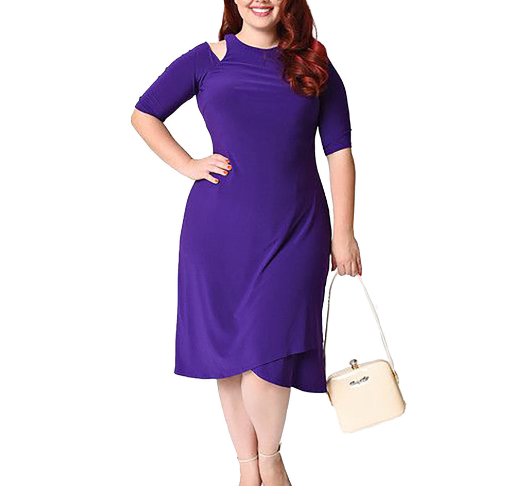 Yieldings Discount Clothing Store's Racy Faux Wrap Dress by Kiyonna in Purple