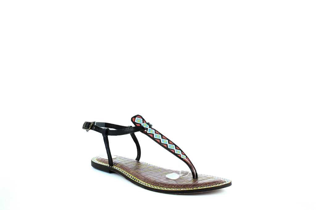 Yieldings Discount Shoes Store's Gigi 6 Thong Sandals by Sam Edelman in Black Tribal