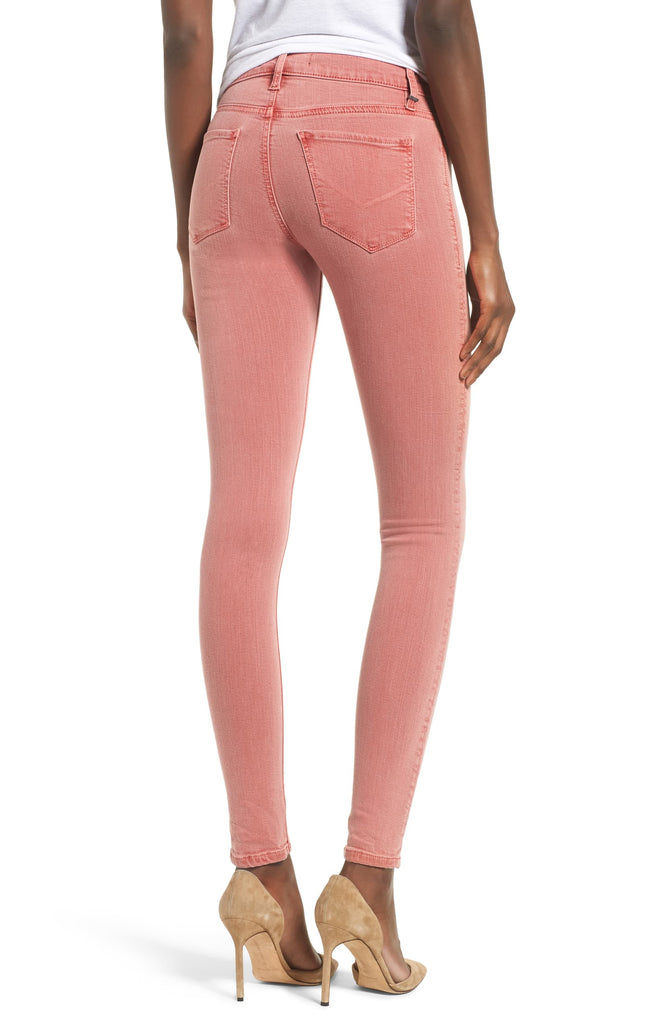 Yieldings Discount Clothing Store's Nico Mid-Rise Skinny Jeans by Hudson in Distressed Persimmon