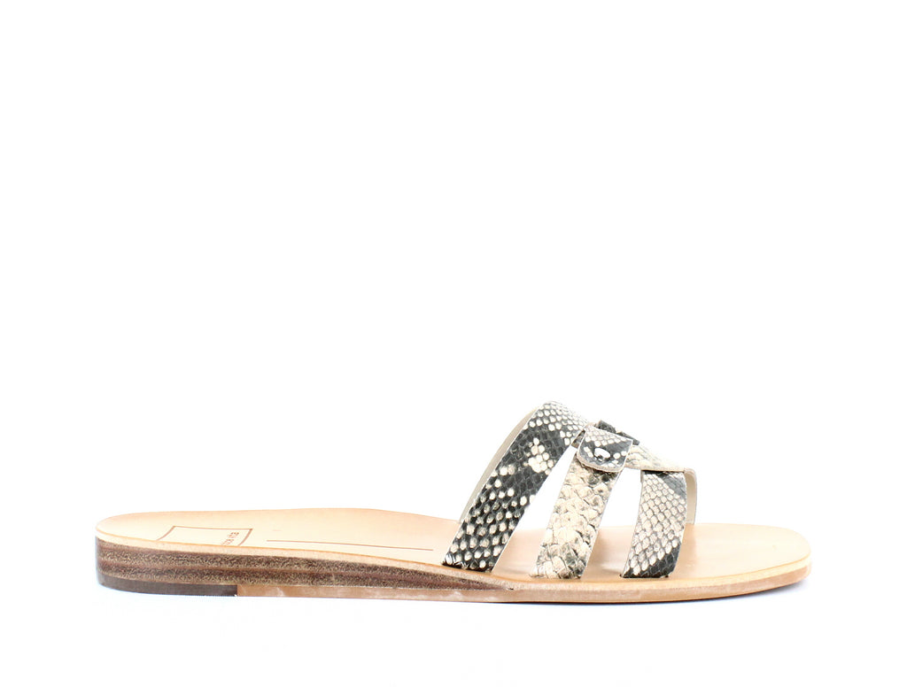 Yieldings Discount Shoes Store's Cait Slide Sandals by Dolce Vita in Black/White Snake Embossed