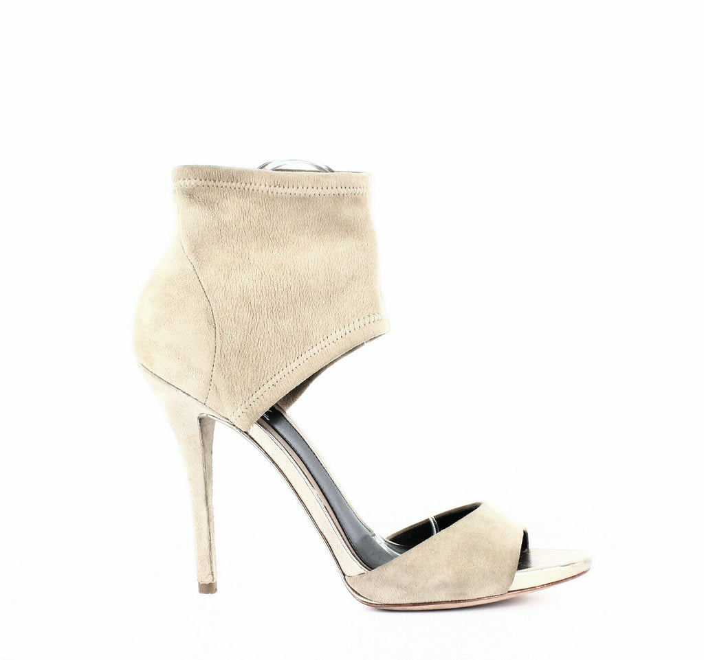 Yieldings Discount Shoes Store's Correns Open-Toe Pumps by Brian Atwood in Light Natural Suede