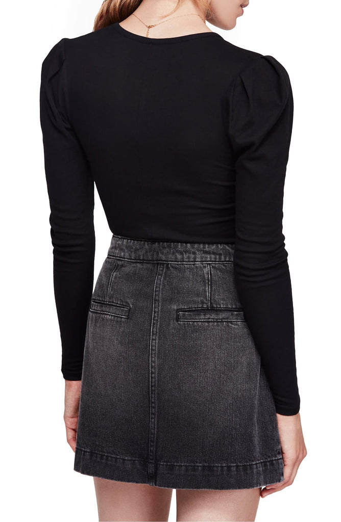 Yieldings Discount Clothing Store's Hey Lady Puff Sleeve Knit Top by Free People in Black